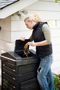 Composting a banana peel