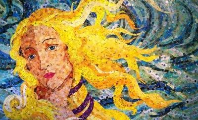 Birth of Venus made of junk mail