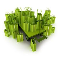 Green shopping bags