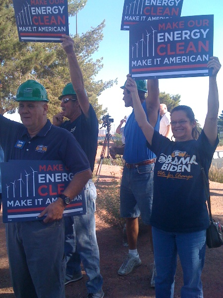 NV clean energy rally close-up people