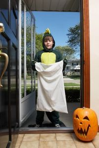 Trick or treating with a pillowcase