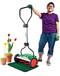 Hand-powered lawn mower