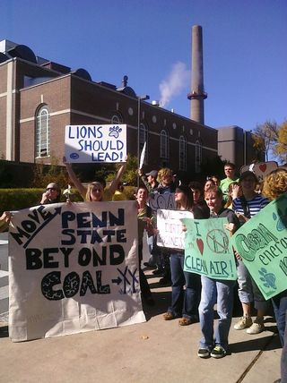 PA Penn State coal rally (10-10) with Coal Plant in background