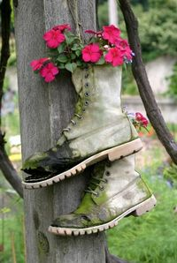 Flowers planted in boots