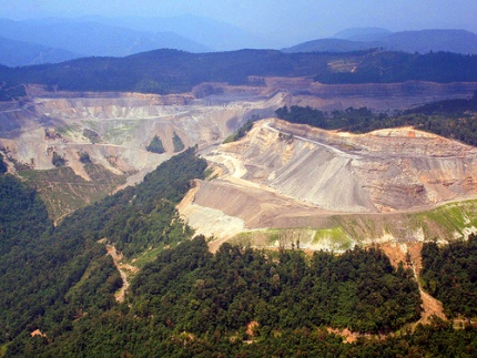 Mountaintop removal coal mining site in southwest Virginia