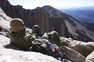 USMC SGT Dean Sanchez resting on Longs Peak