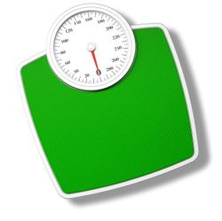 Green bathroom scale