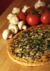Stinging nettle pizza