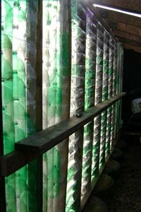 Earthship bottle wall