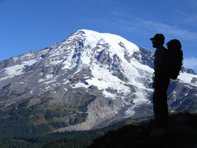 Hiker in mt rainer