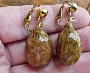 Moose coprolite earrings