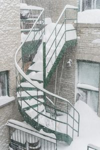 Staircase in blizzard