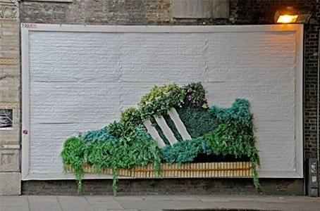 This green billboard is an example of vertical gardening