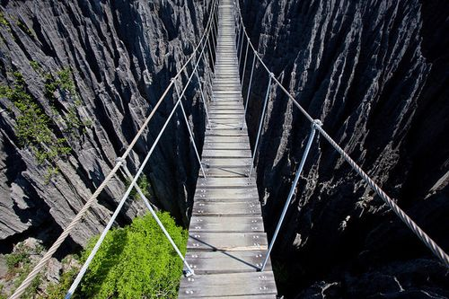 Tsingy de Bemaraha Strict Nature Reserve hanging rope bridge scariest bridges