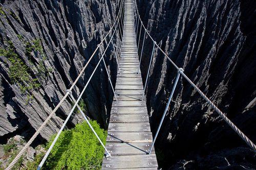 Tsingy de Bemaraha Strict Nature Reserve hanging rope bridge scariest bridges