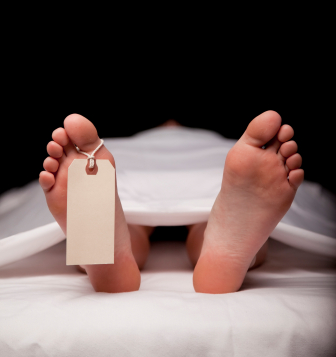 Dead body in morgue with toe tag