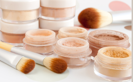 Collection of mineral makeup and bamboo brushes