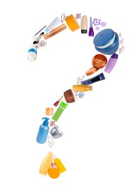 Question mark of beauty products