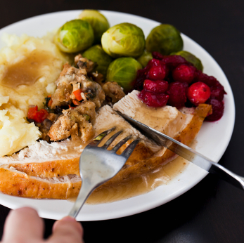Plate of Thanksgiving foods