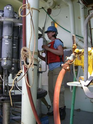 Henrieta Dulaiova on a cruise to collect samples for her studies on the geochemistry of the ocean