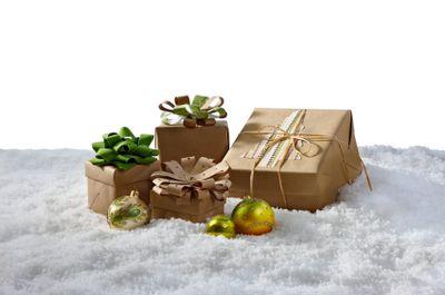 Christmas gifts on snow