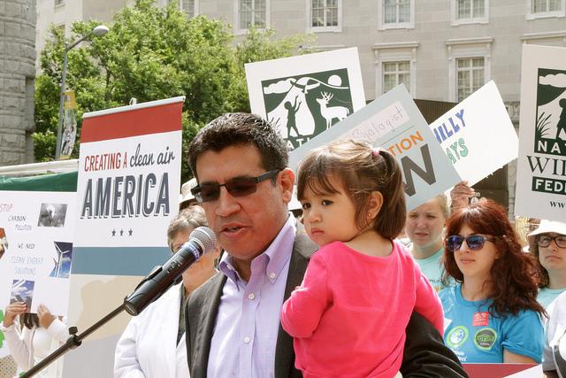 Green Latino president Mark Magaña speaks at the DC rally - photo by Javier Sierra