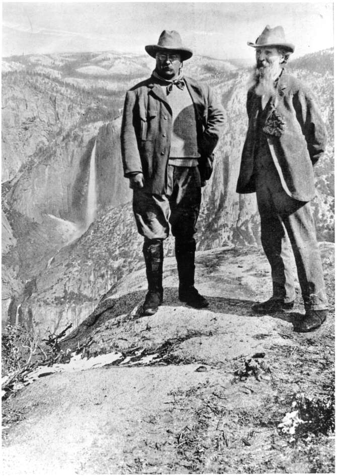 Theodore Roosevelt with John Muir at Yosemeite National Park