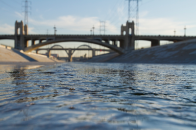 Los Angeles River with its concrete banks