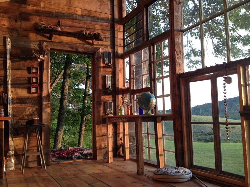 Cabins made with repurposed materials